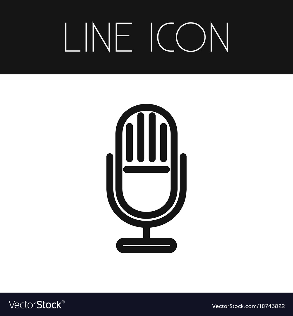 Isolated microphone outline mic element vector image