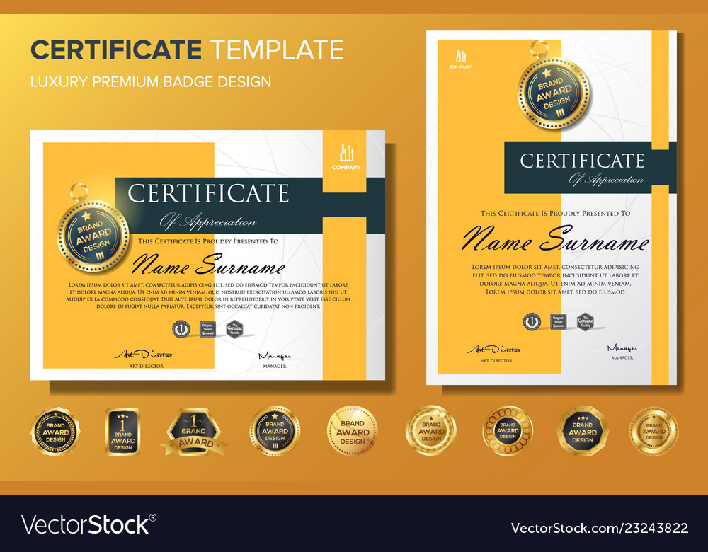 Professional Certificate Background Template With Vector Image