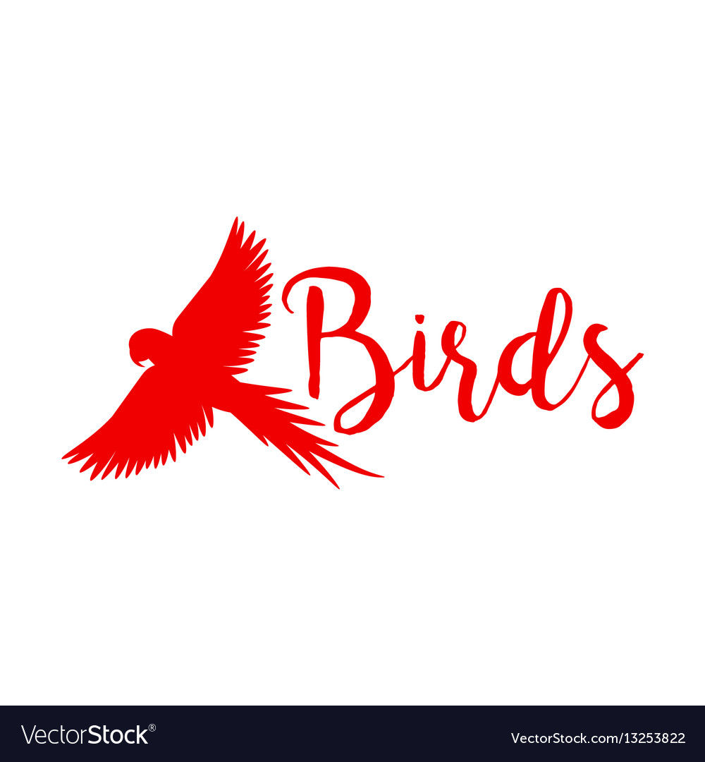 Red logo design with flying bird