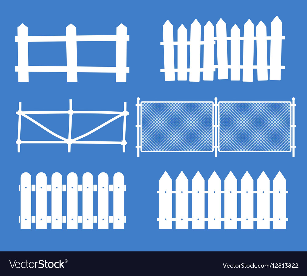 Rural wooden fences pickets silhouettes