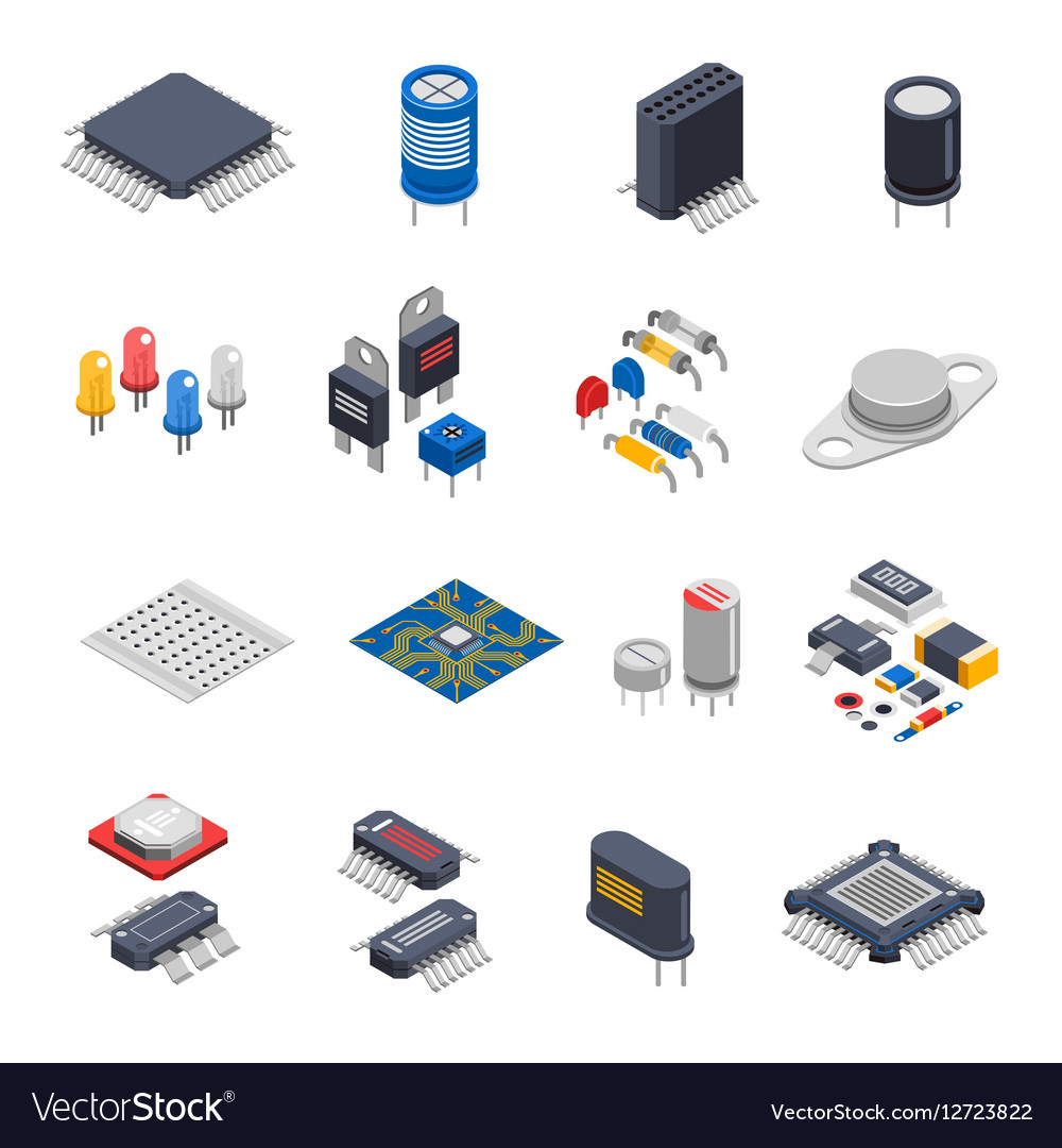 Semiconductor Components Icon Set Royalty Free Vector Image Circuit And