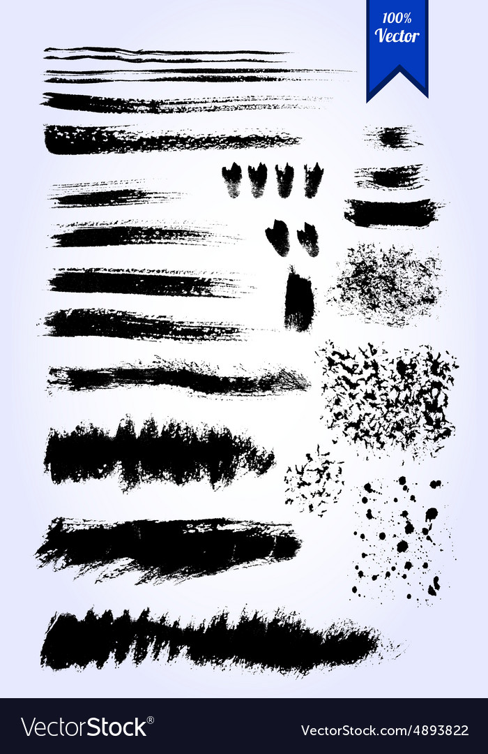 Set of grunge watercolor brush strokes vector image