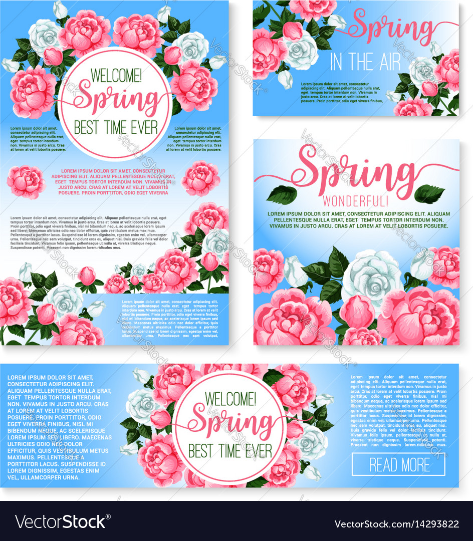 Templates set for spring time greetings vector image