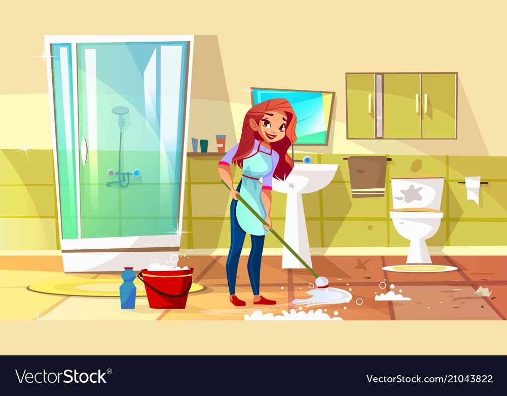 Woman cleaning bathroom vector image
