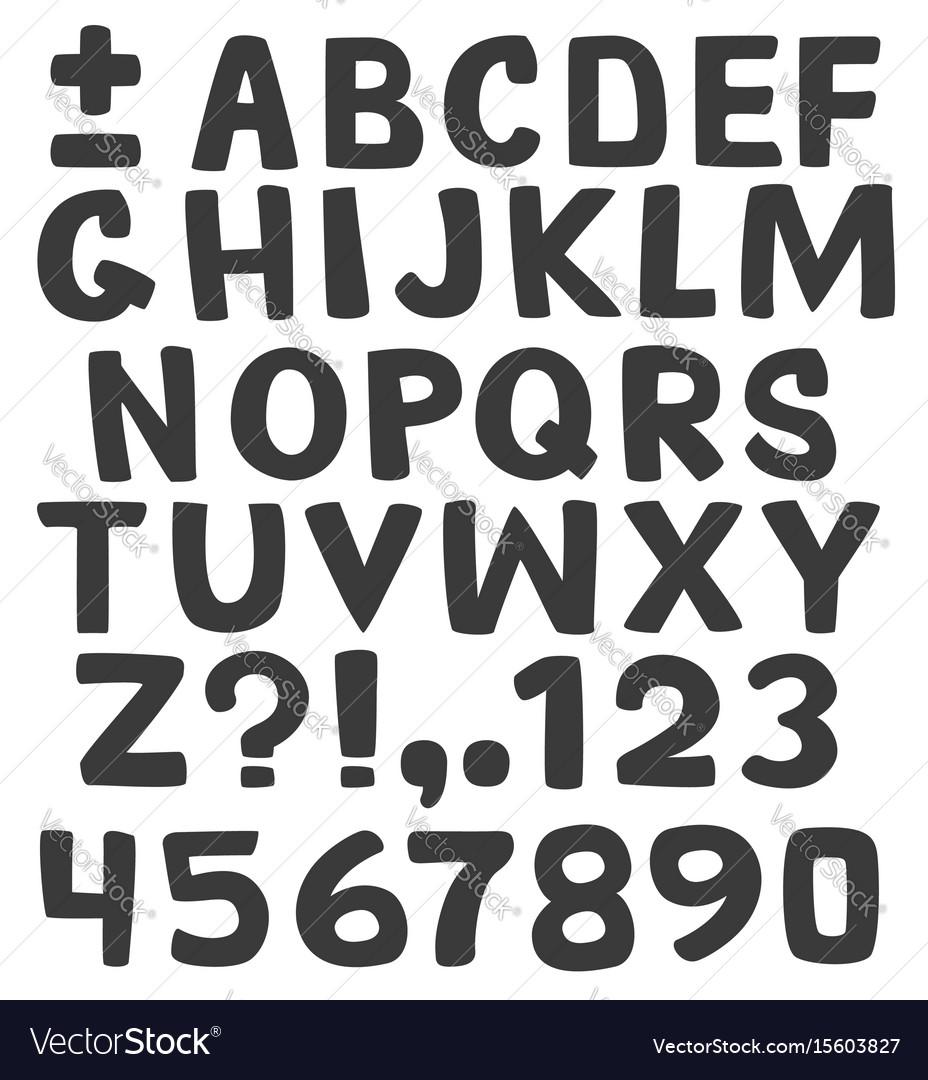 Black alphabet on white background