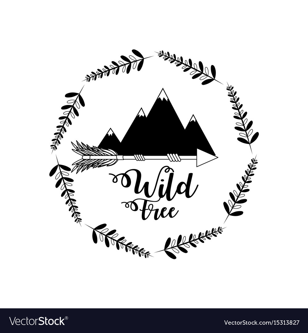Branches around of snowy mountains with arrows vector image