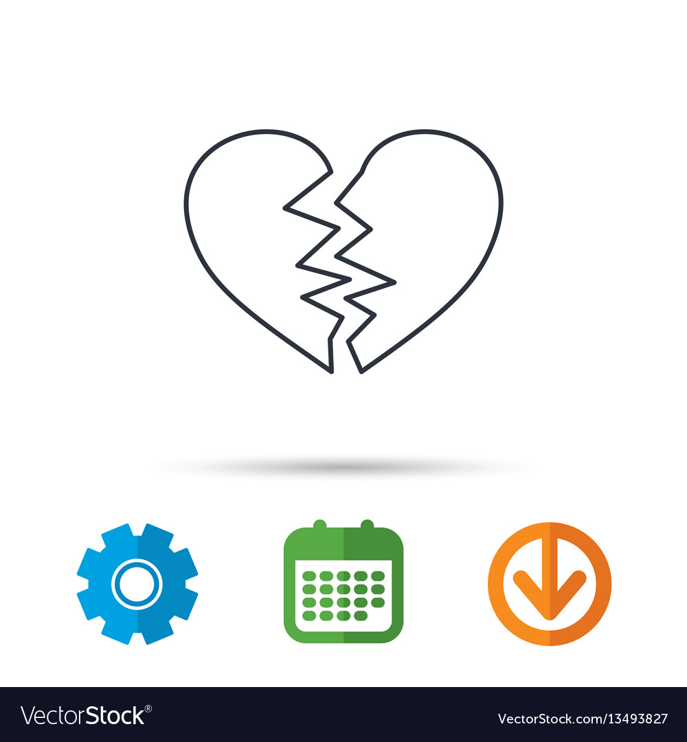 Broken heart icon divorce sign