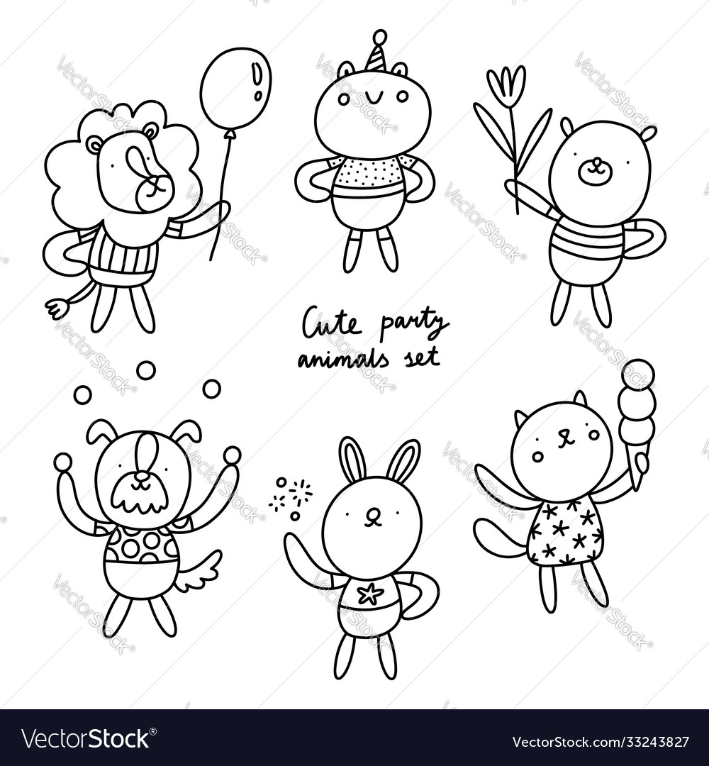 Cute party animals outlined collection