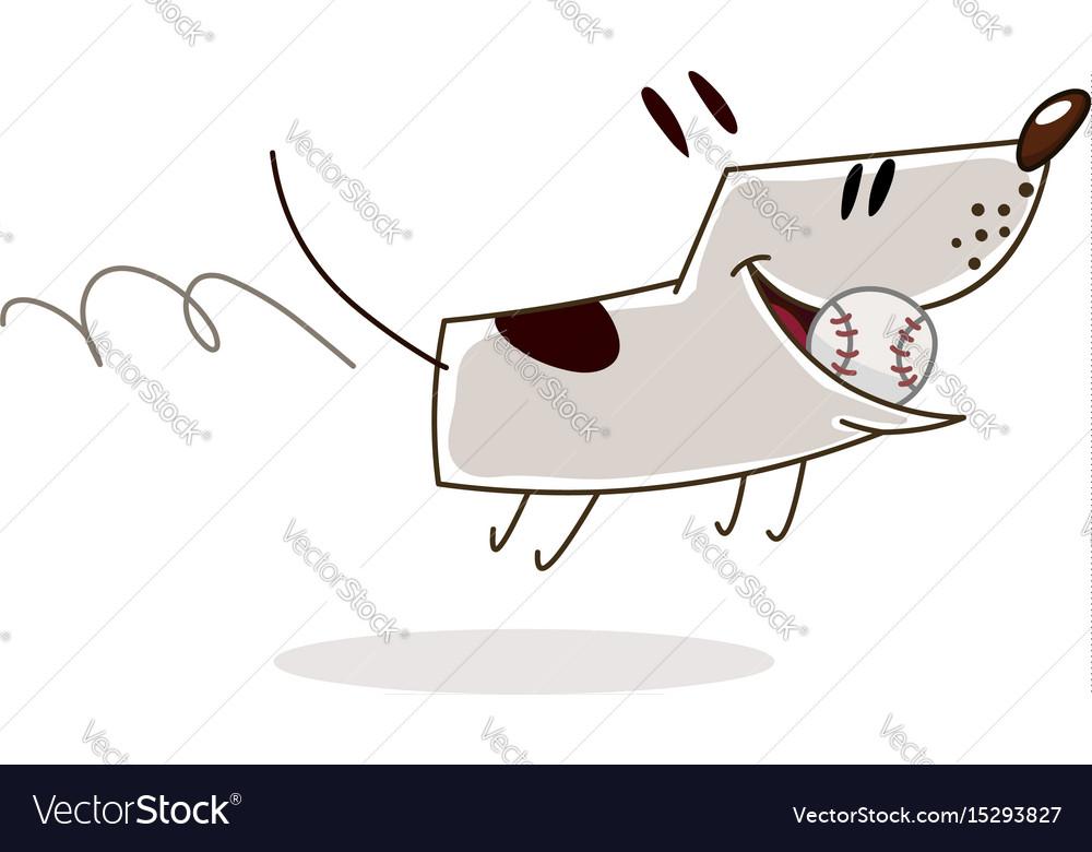 Dog with ball vector image
