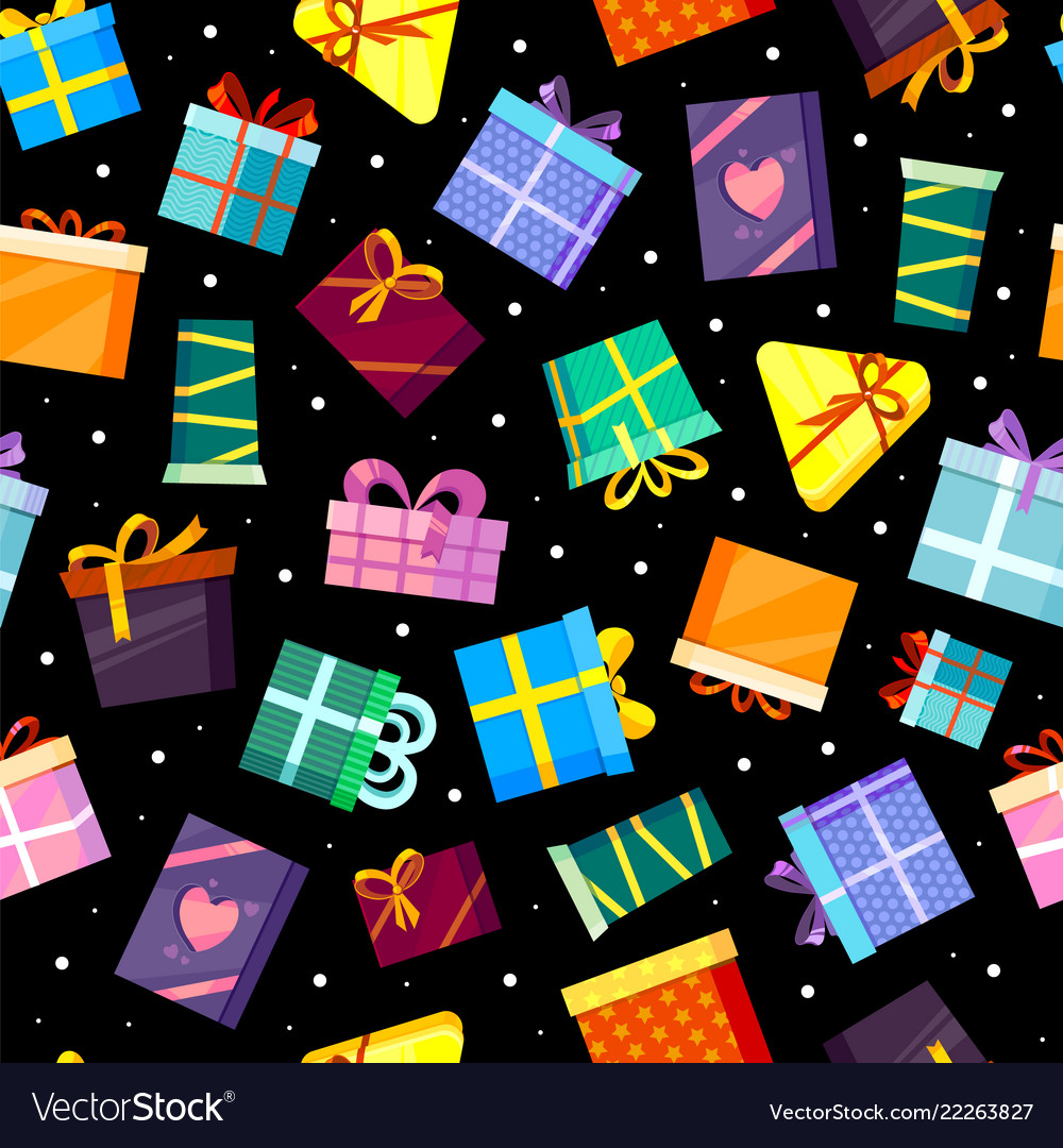 Gifts boxes pattern colored xmas valentine and