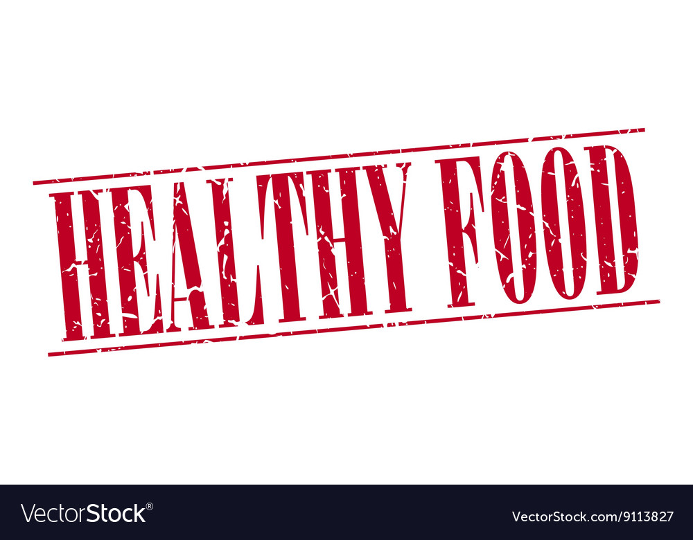 Healthy food red grunge vintage stamp isolated on