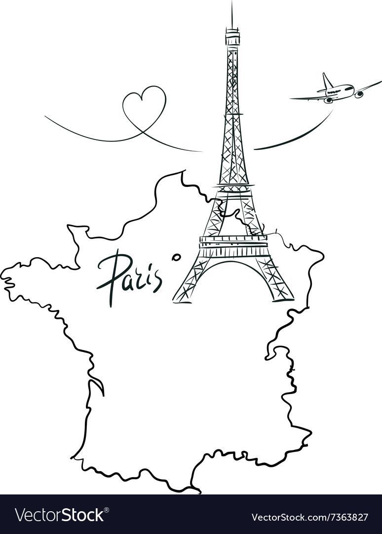 Map Of France Eiffel Tower.Map Of France With Eiffel Tower