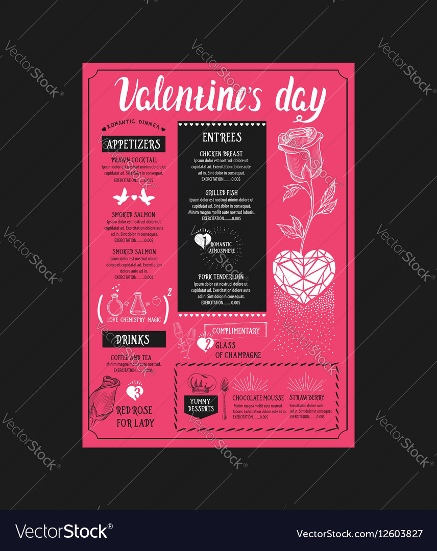 Menu Template For Valentine Day Dinner Royalty Free Vector