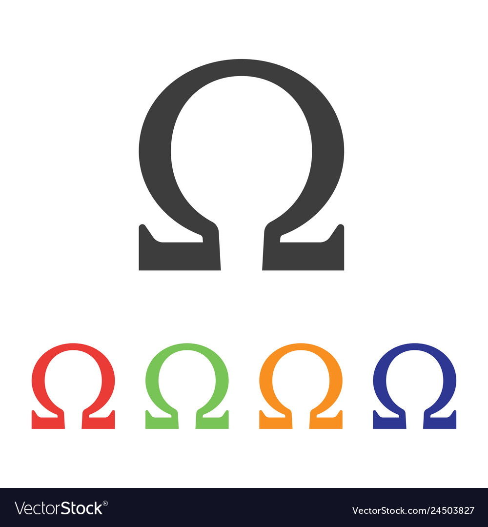 Omega symbol with various style color