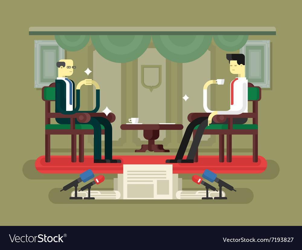 Politician interview flat design