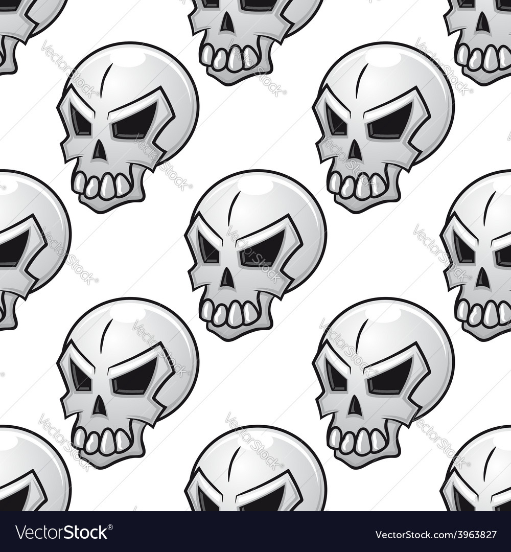 Seamless pattern with scary evil skull
