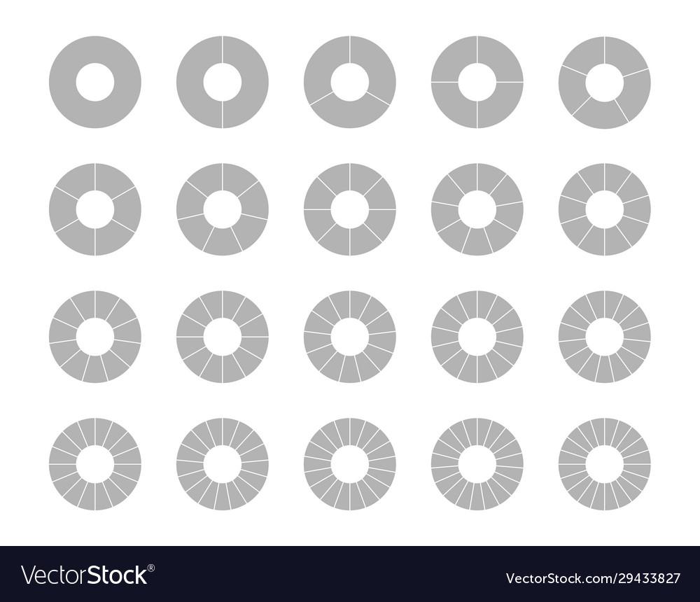 Segmented circles set isolated on a white