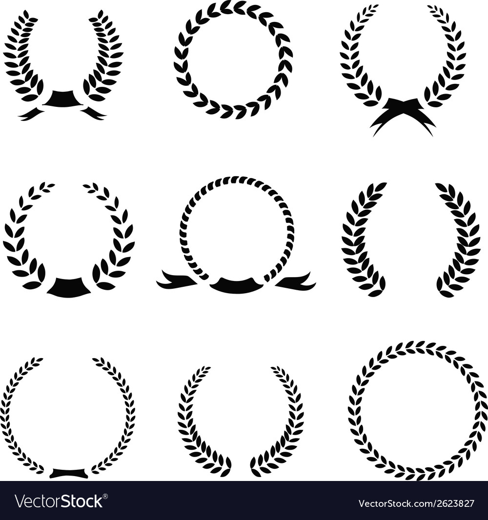 Set of black and white silhouette circular laurel vector image