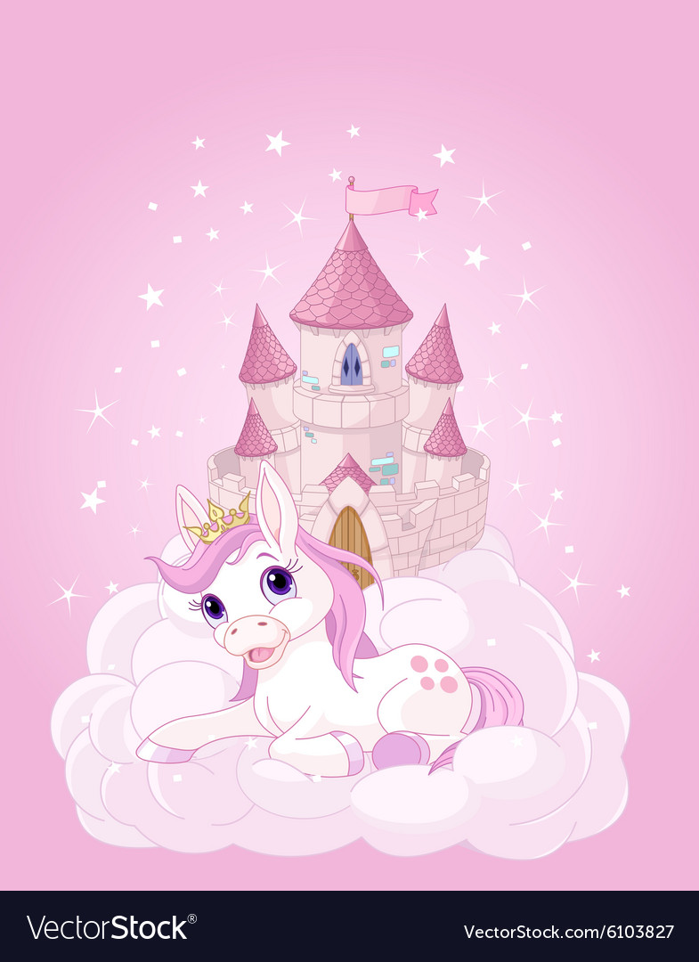 Sky Castle and Unicorn vector image