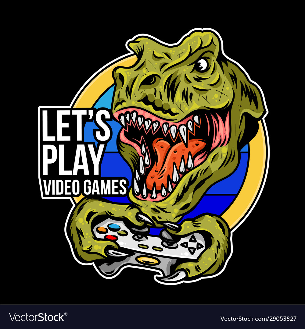 T rex angry dinosaur gamer which play game