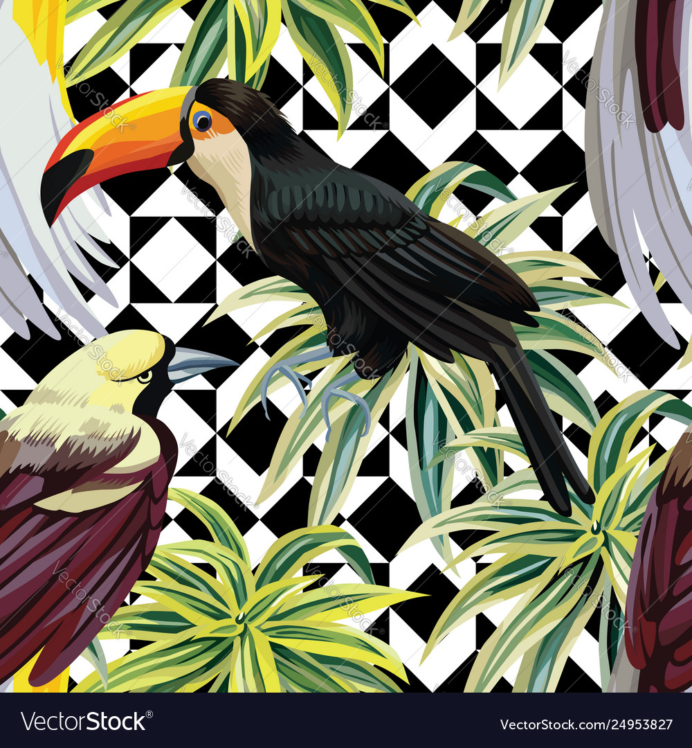Tropical birds and plants pattern geometric
