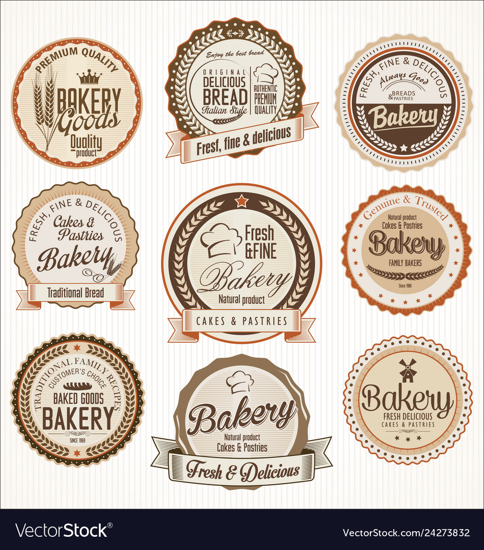Bakery retro vintage badges collection