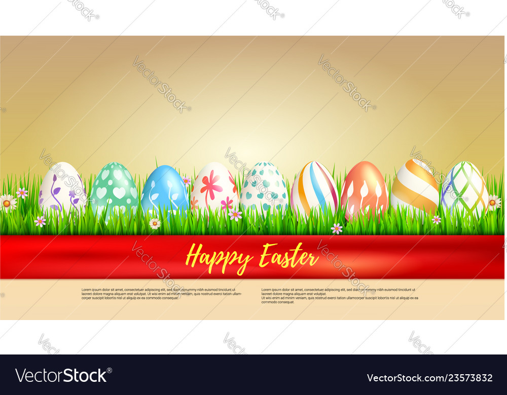 Banner with easter eggs wrapped in red ribbon