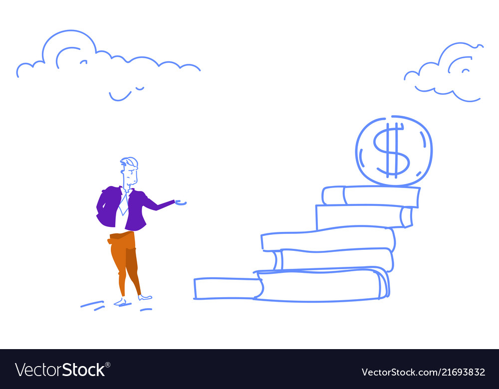 Businessman go up ladder stairs dollar coin podium