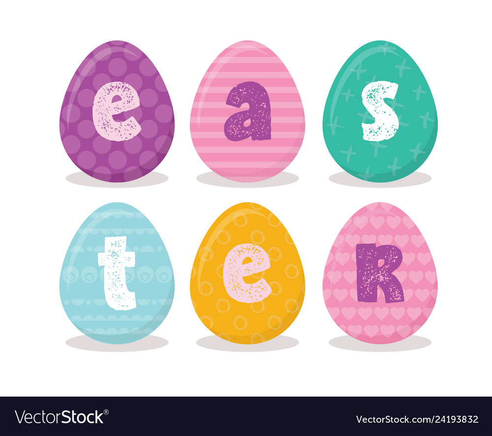 Easter eggs with easter letters in different