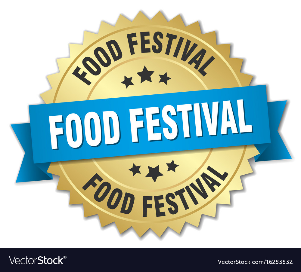Food festival round isolated gold badge vector image