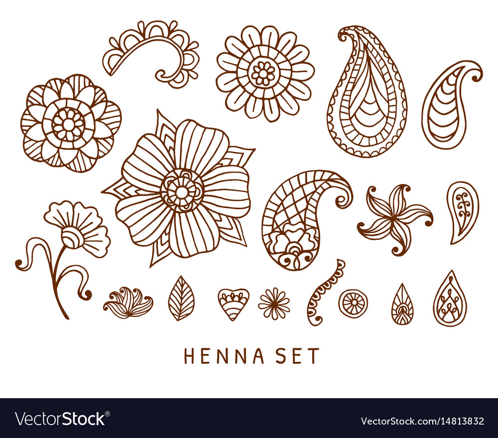Henna tattoo doodles set