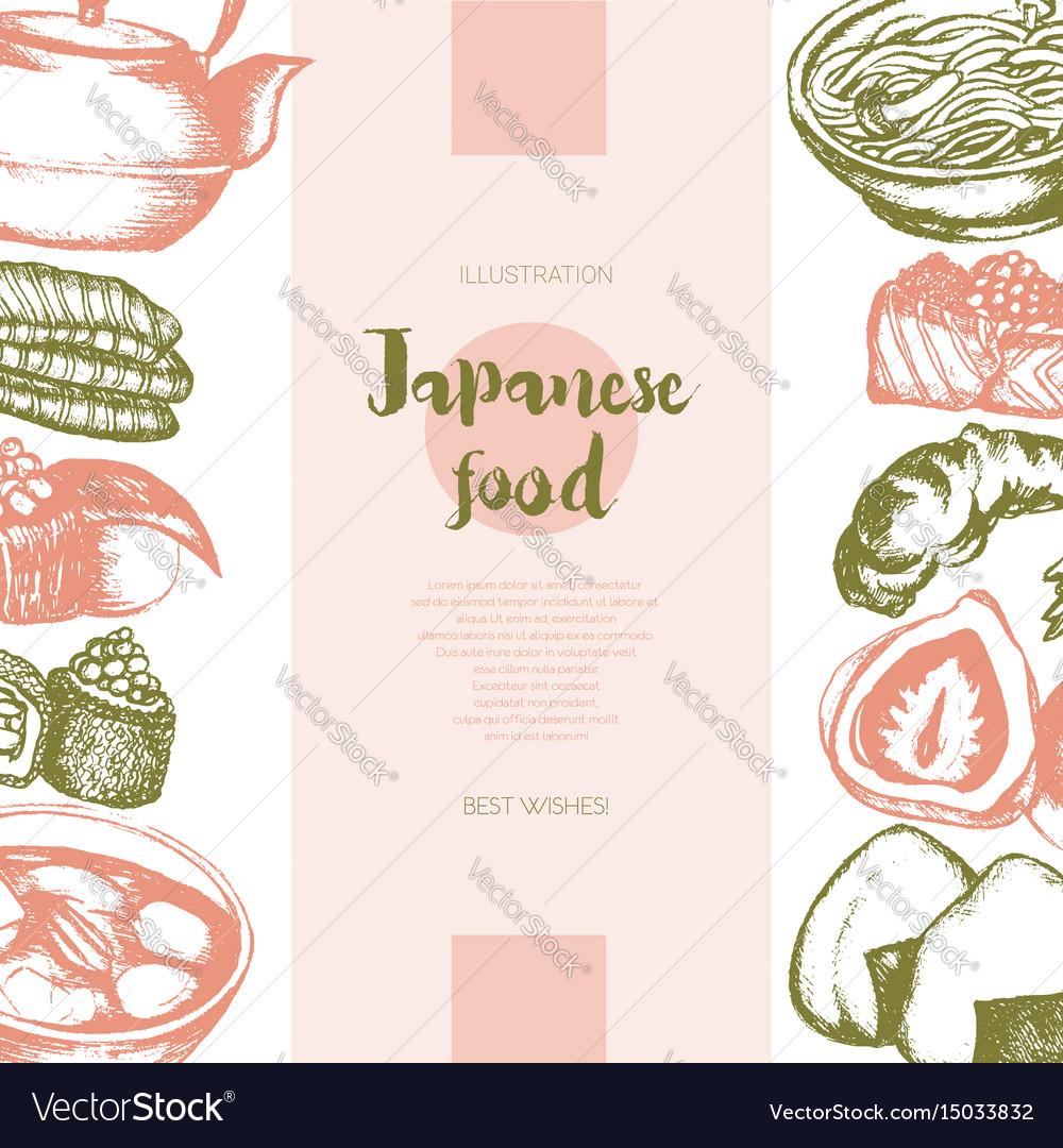 Japanese food - color hand drawn postcard banner