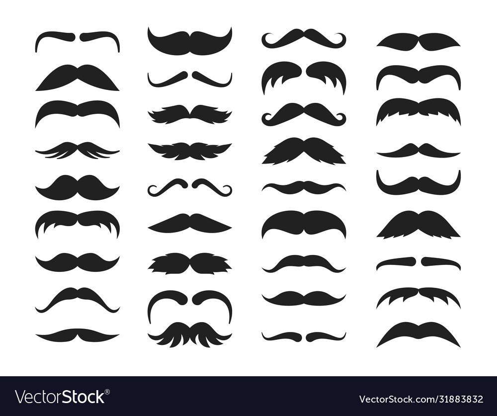 Mustache silhouette set stylish look black