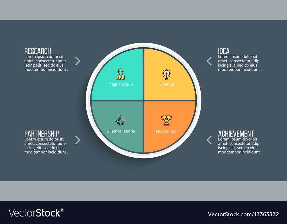 pie chart presentation template with 4 royalty free vector, Achievement Presentation Template, Presentation templates