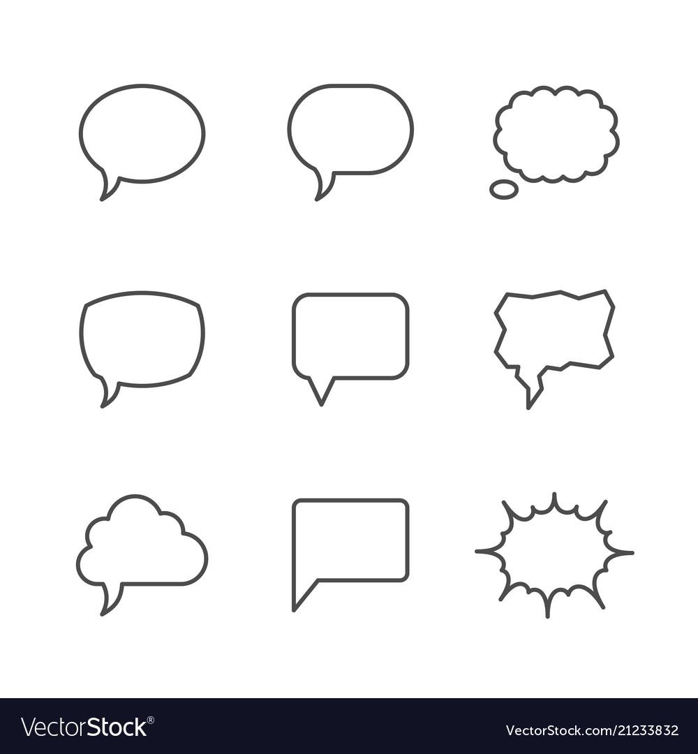 Set line icons of speech bubble