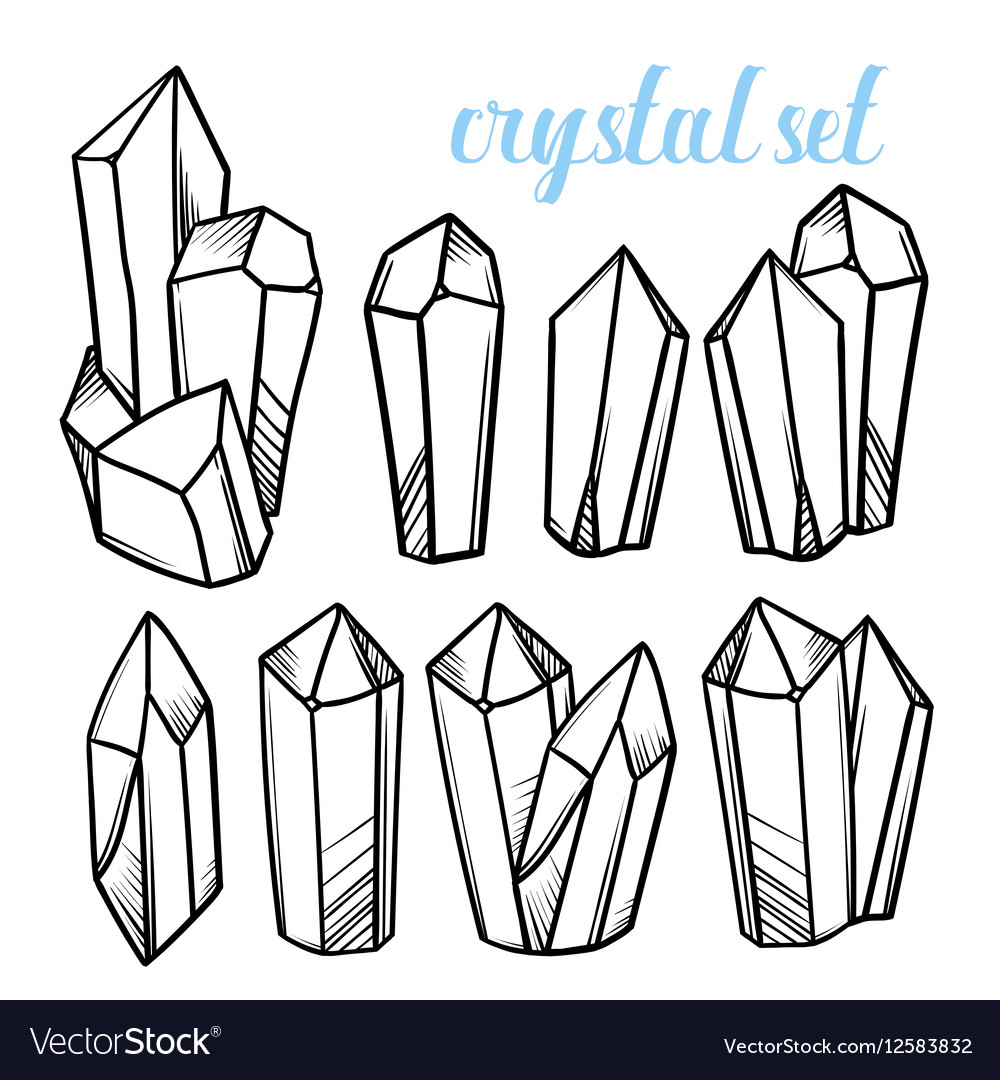 Set of magic crystals Icons of mineral