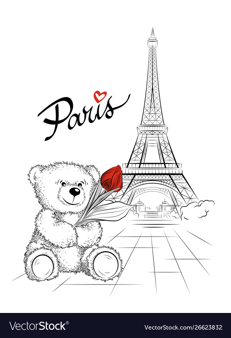 Teddy bear and eiffel tower paris france