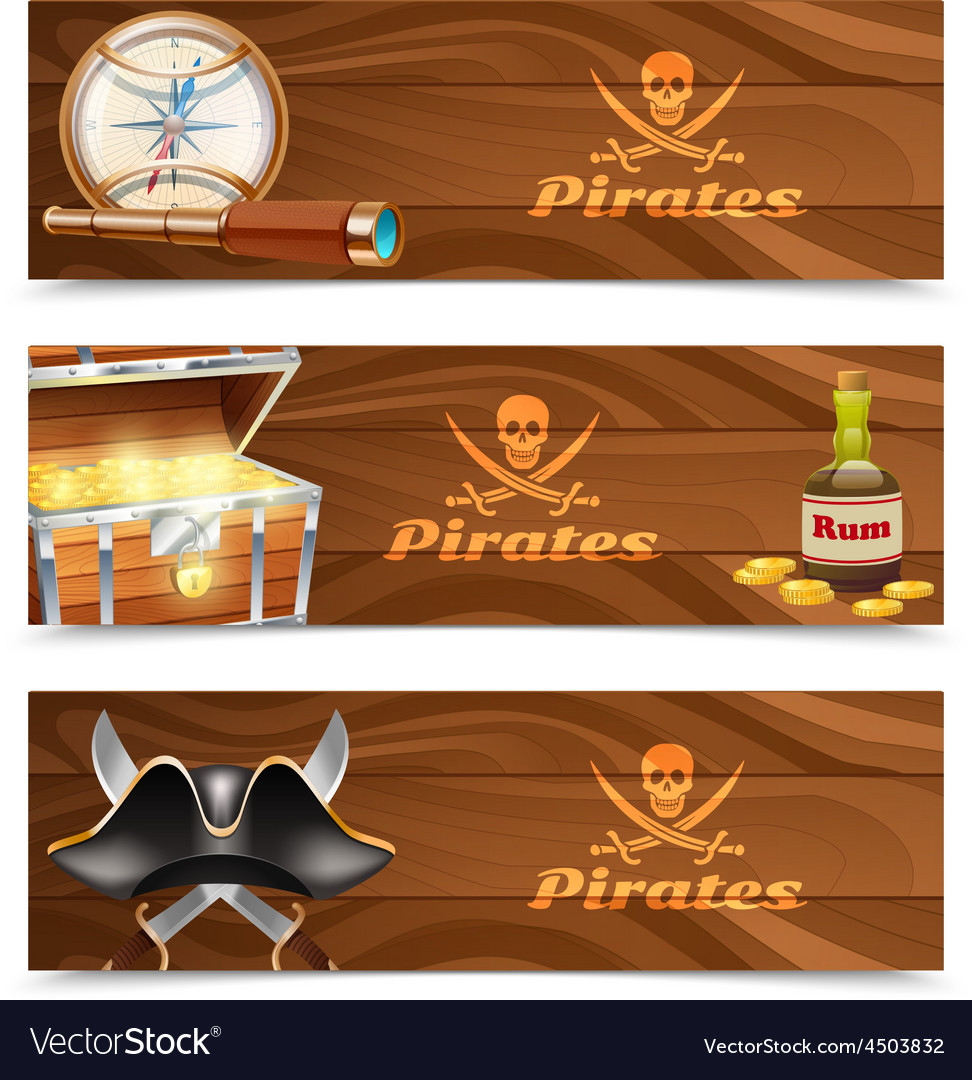 Three horizontal pirate banners