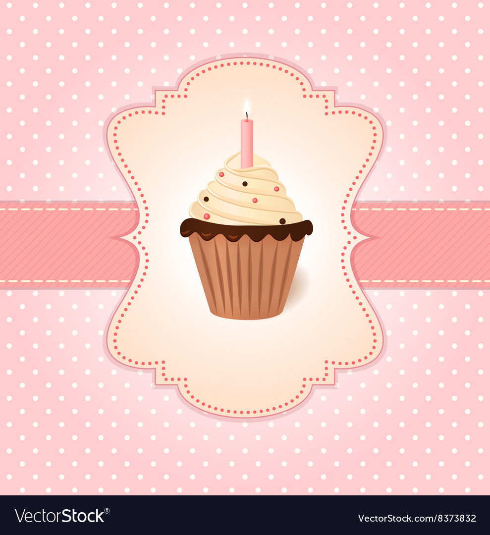 Vintage pink greetings card Cream cake with candle
