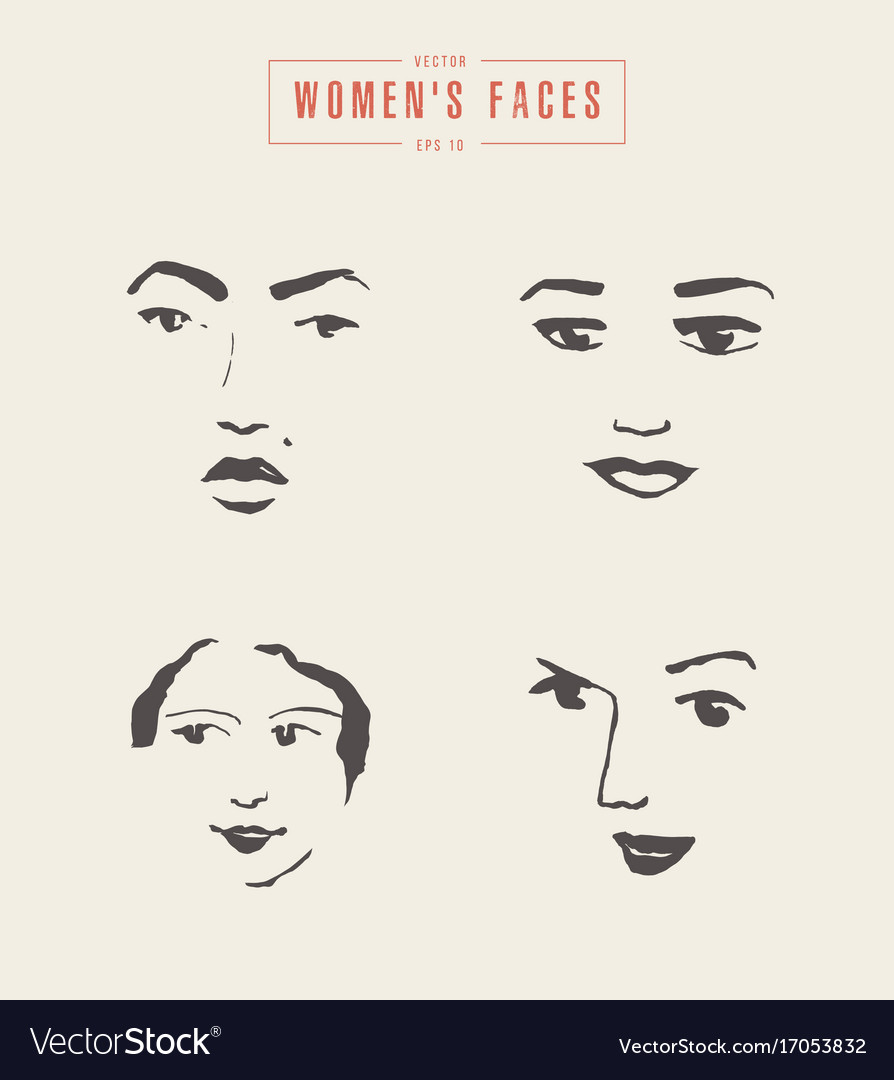 Women s faces contours paintbrush sketch