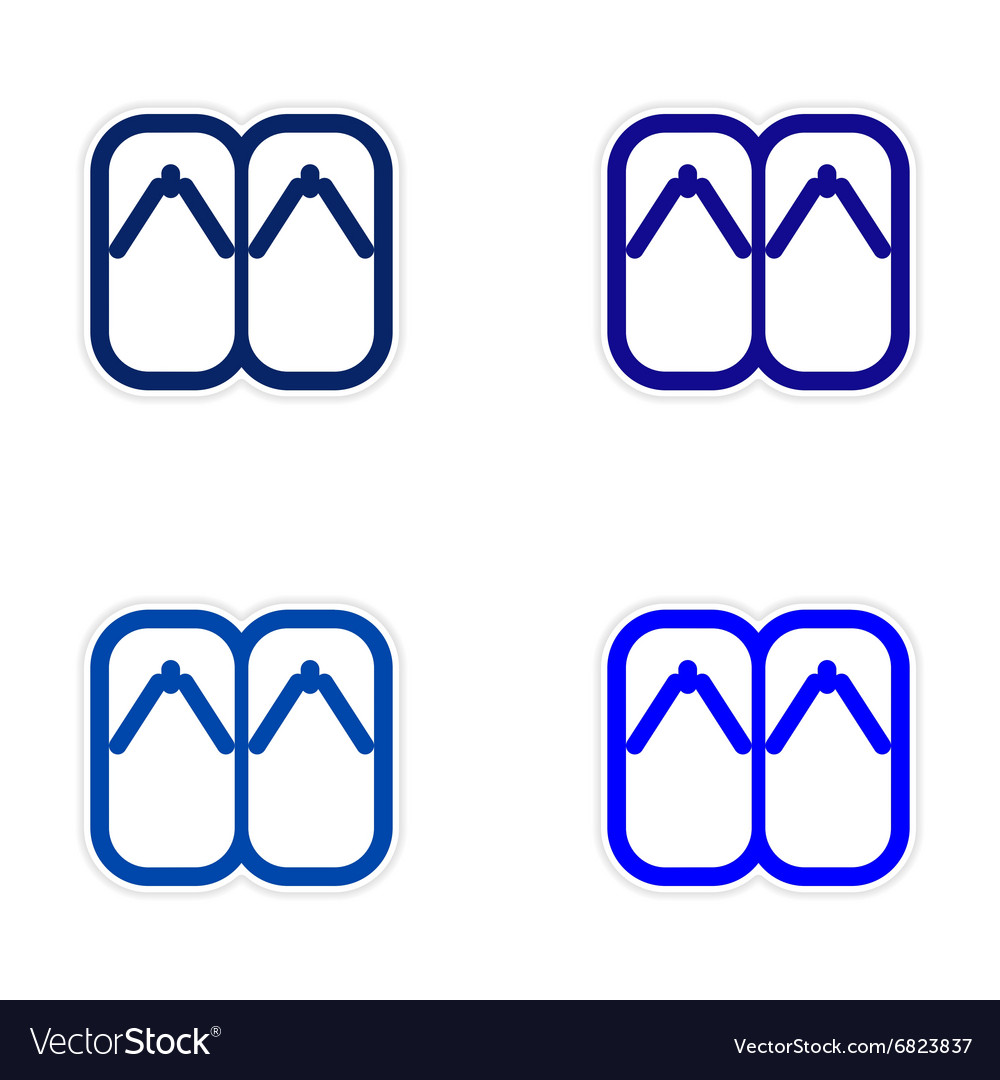 Assembly Sticker Japanese slippers vector image