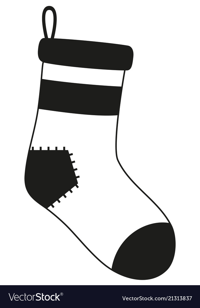 Black And White Old Christmas Stocking Silhouette Vector Image