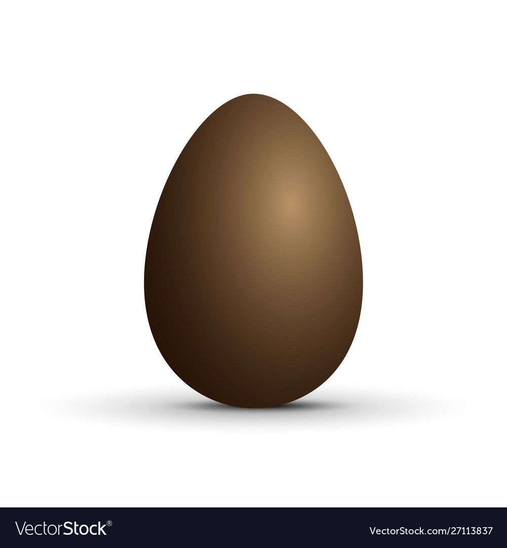 Brown sweet chocolate egg on white background