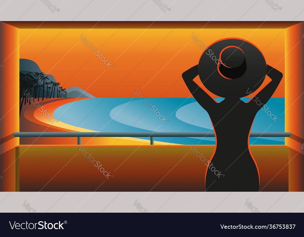 Dark silhouette a woman in hat on balcony