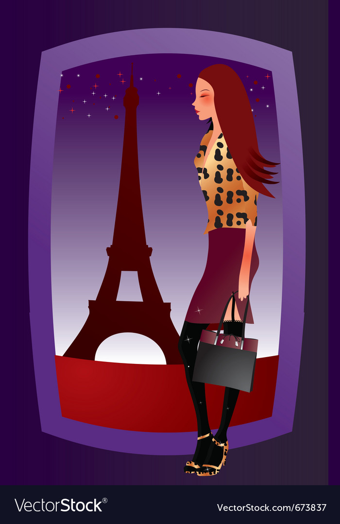 Fashion sexy girl in paris vector image