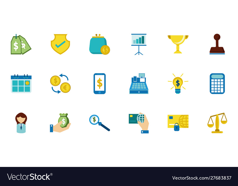 Finance business icons set on white background