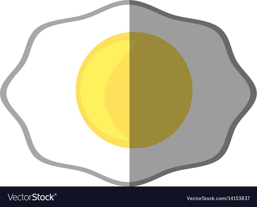 Fried egg breakfast food shadow vector image