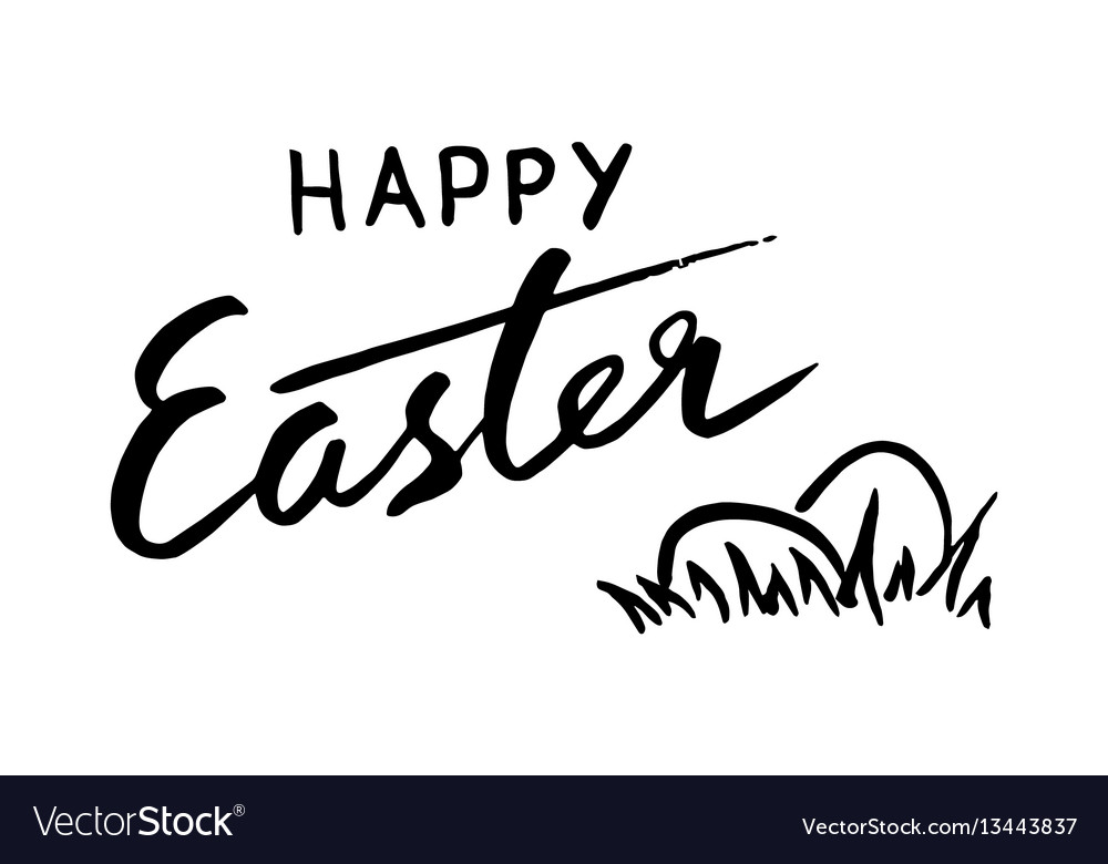 Happy easter lettering and eggs for greeting card