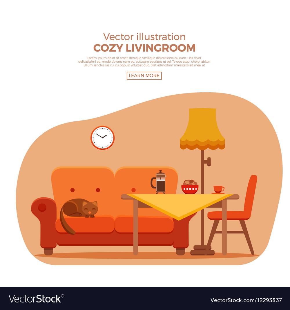 Living room cozy colorful cartoon interior