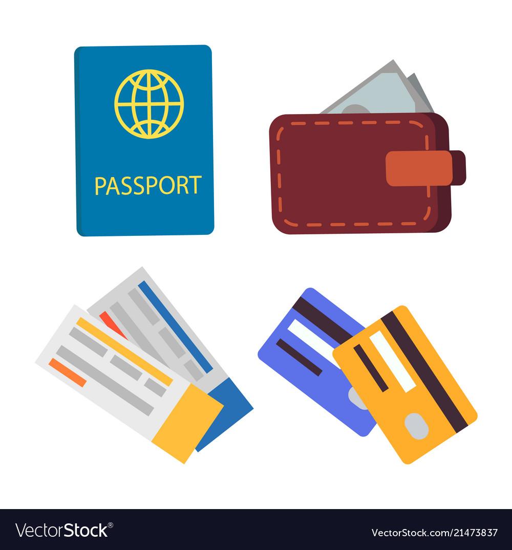 Passport and globe sign set